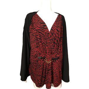 Jaclyn Smith Faux Animal Print Layered Top